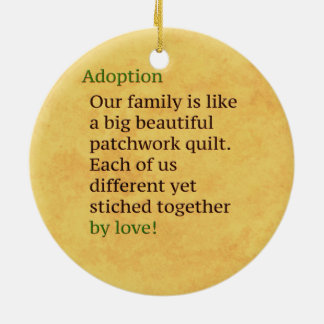 Adoption is a Patchwork Round Ceramic Ornament