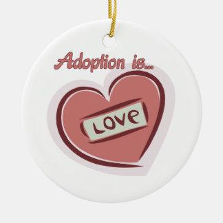 Adoption is Love Round Ceramic Ornament
