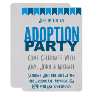 Adoption Party Blue Modern Adoption Announcements