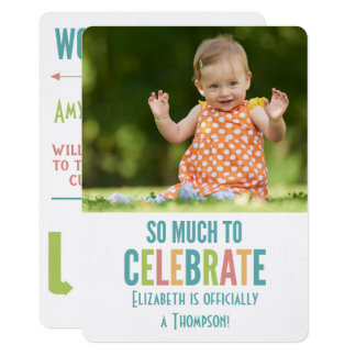 Adoption Party Modern Bright Colors Announcement