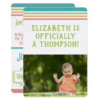 Adoption Party Modern Multi Color Stripes Photo Card