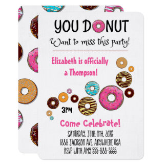 Adoption Party Modern Pink Donut Party Card