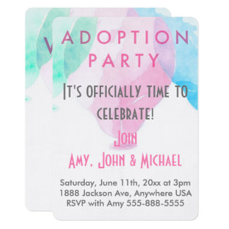 Adoption Party Pink & Blue Balloons Announcement