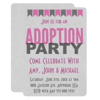 Adoption Party Pink Modern Announcements