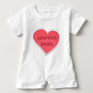 Adoption Rocks Pink Heart Design Baby Romper