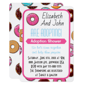 Adoption Shower Modern Pink Donut Party Card