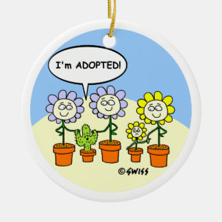 Adoption Theme Cute Cartoon Personalized Ceramic Ornament
