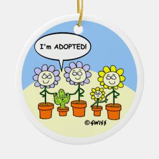 Adoption Theme Cute Cartoon Personalized Round Ceramic Ornament