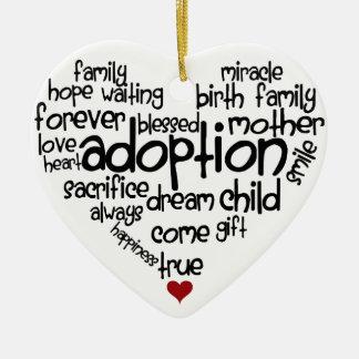 Adoption-words Ceramic Heart Ornament
