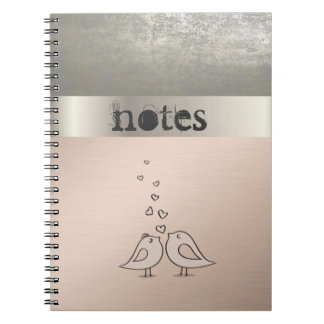 Adorabe Cute Birds In Love -Personalized Spiral Notebook