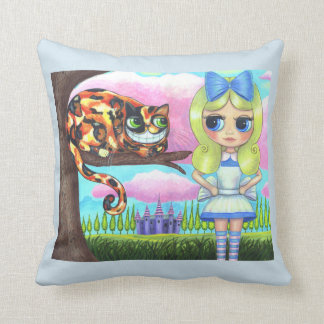 Adorable Alice in Wonderland Cheshire Cat Big Eyes Throw Pillow