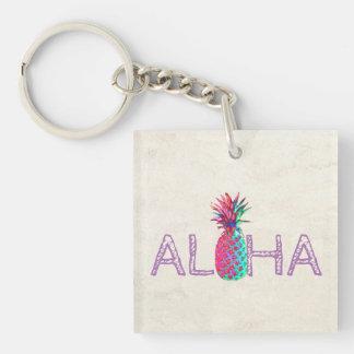 Adorable Aloha Hawaiian Pineapple Double-Sided Square Acrylic Keychain