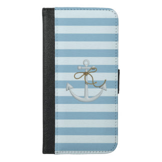 Adorable Anchor on Light Blue and White Stripes iPhone 6/6s Plus Wallet Case