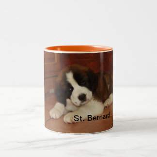 Adorable and Sweet St. Bernard Puppy Two-Tone Coffee Mug