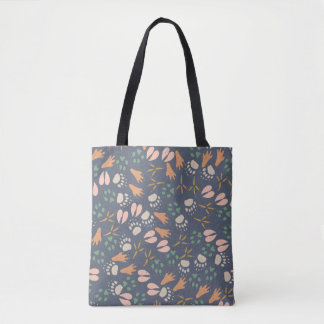 Adorable Animal Foot Prints Pattern Tote Bag