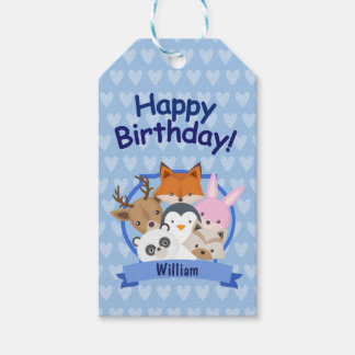 Adorable Animals Happy Birthday Gift Tag