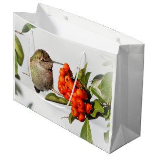 Adorable Anna's Hummingbird on the Berry Bush Large Gift Bag