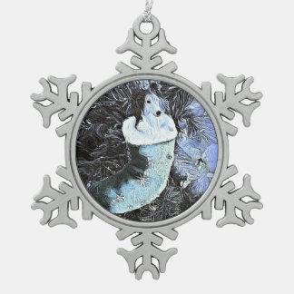 Adorable Artistic Sheltie In Festive StockingAdora Snowflake Pewter Christmas Ornament