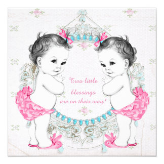 "Adorable Babies Twin Girl Baby Shower 5.25"" Square Invitation Card"