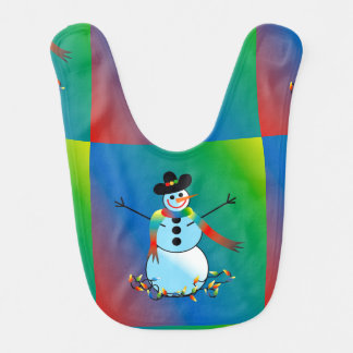 Adorable Baby Bib with Holiday Snowman