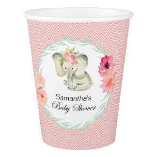 Adorable Baby Elephant Girl Baby Shower Paper Cup