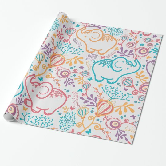Adorable Baby Elephants And Flowers Wrapping Paper