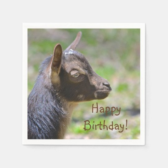 Adorable Baby Goat Birthday Paper Napkin