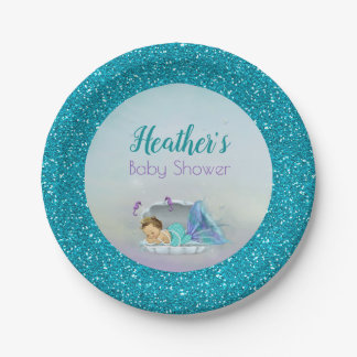 Adorable Baby Mermaid Party Paper Plates 130 Light