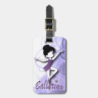Adorable Ballerina Dancer | DIY Text | Purple Bag Tag