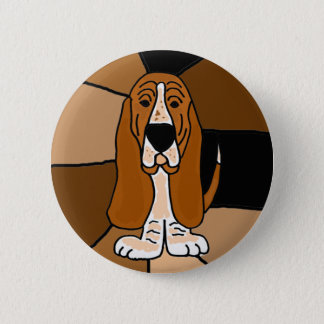 Adorable Basset Hound Dog Art Abstract 2 Inch Round Button