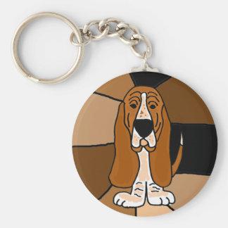 Adorable Basset Hound Dog Art Abstract Keychain