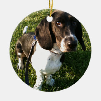 Adorable Basset Hound Snoopy Ceramic Ornament