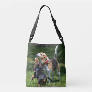 Adorable Beagle Puppy and Mom Crossbody Bag