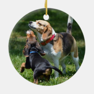 Adorable Beagle Puppy and Mom Round Ceramic Ornament