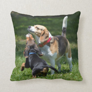 Adorable Beagle Puppy and Mom Throw Pillow