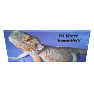 Adorable Bearded Dragon Picture on Blue Canvas Print
