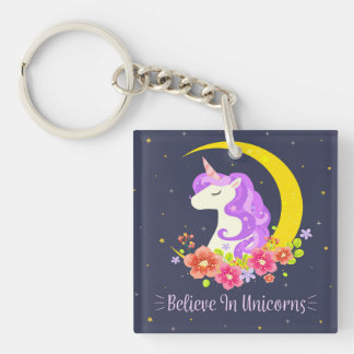 Adorable Believe in Unicorns Keychain