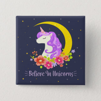 Adorable Believe in Unicorns Pin Button