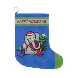 Adorable Bell-Ringing Cartoon Christmas Elephant Large Christmas Stocking