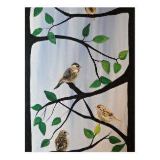 Adorable bird painting postcard