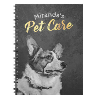 Adorable Black and White Dog Oil Painting Notebook
