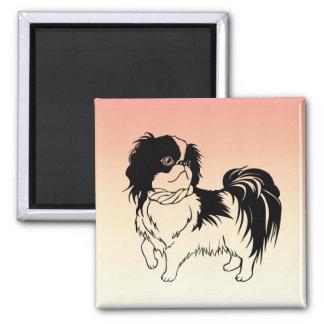 Adorable Black and White Dog on Orange Magnet