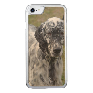 Adorable Black and White English Setter Carved iPhone 8/7 Case