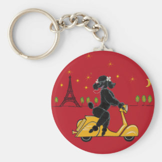 Adorable Black Poodle on a  in Paris Basic Round Button Keychain