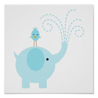 Adorable Blue Elephant and Bird Poster
