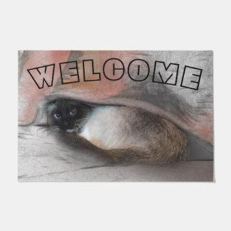 Adorable Blue EyedCat Peeking From Under A Blanket Doormat