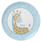 Adorable Blue Giraffe Customizable Plate