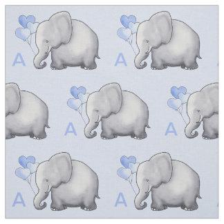 Adorable Blue Monogram Elephant Baby Boy Nursery Fabric