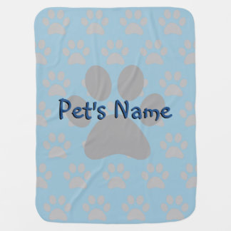 Adorable Blue Paw Print Male Custom Pet Blanket