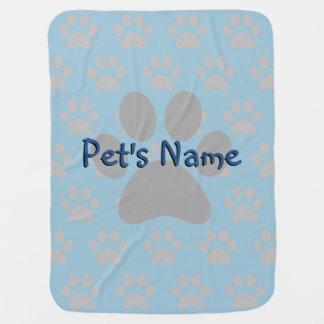 Adorable Blue Paw Print Male Custom Pet Blanket Swaddle Blanket